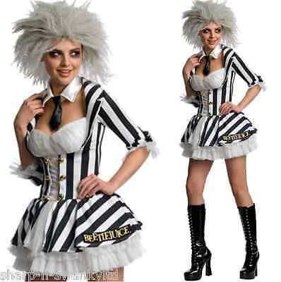 Damen Sexy Miss Beetlejuice & Perücke Halloween 80er Jahre Kostüm Kleid Outfit