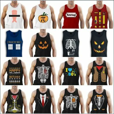 Halloween Easy Costume Singlet Sleeveless T-Shirt Funny Horror Mens S - 2XL - Funny Easy Mens Halloween Costumes