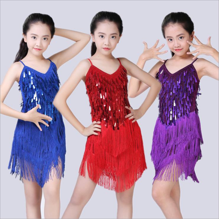 Kinder Mädchen Latein Tanz Kostüm Regentropfen Pailletten Franse Kleid 5 Größen