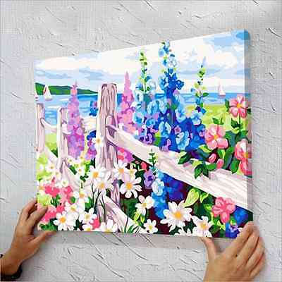"16x20"" DIY Acrylic Painting Paint By Number Kit On Canvas Sea of Flowers"