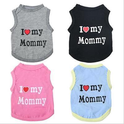 Pet Dog Cat Clothes I Love Mom/Dad Printing Summer Vest T Shirt Apparel Costume