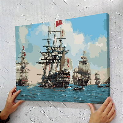 "16"" x 20"" DIY Paint By Number Kit Acrylic Painting On Canvas - Sailing"