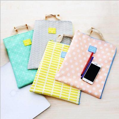 Just Candy 1pc Document Case Study Bag Big Size File Folder Pocket Canvas Zip