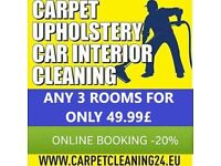 Carpet cleaning (3 rooms for 49.99£ till 30.04.2018) / upholstery / mattress cleaning service