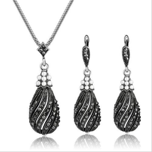 Women Jewelry Set Fancy Vintage Pearls Pendant Necklace Blac