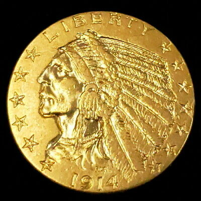 1914 US American Indian Head Half Eagle Gold $5 Dollar Collector Coin 1IHHE1403 Indian Head Half Eagle