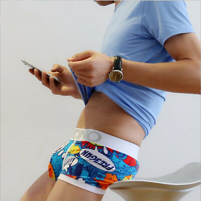 Mens Cartoon Funny Boxer Shorts Hero Beauty Guy Low Waist Sexy U Underwear