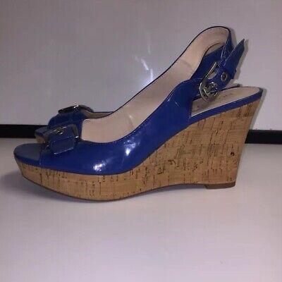Franco Sarto Womens Sz 8.5 Cork Wedge Blue Patent Leather Sling Back Peep Toe Patent Cork Wedge