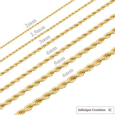 24K Gold Plated Stainless Steel Rope Chain Necklace Men Women 2mm to 6mm