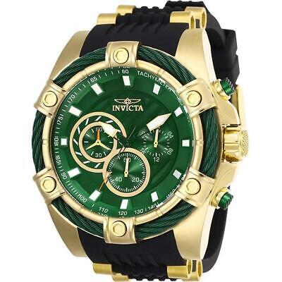 Invicta Bolt 25532 Men's Green Dial Chronograph Black Silicone Band Watch Dial Black Silicon Band
