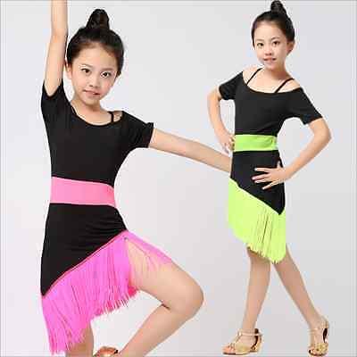 HJK2# Kinder Mädchen Latein Tanz Kostüm Zweifarbig Franse Kleid 4 Größen