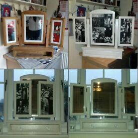 Upcycled pine white sparkly dressing table mirror