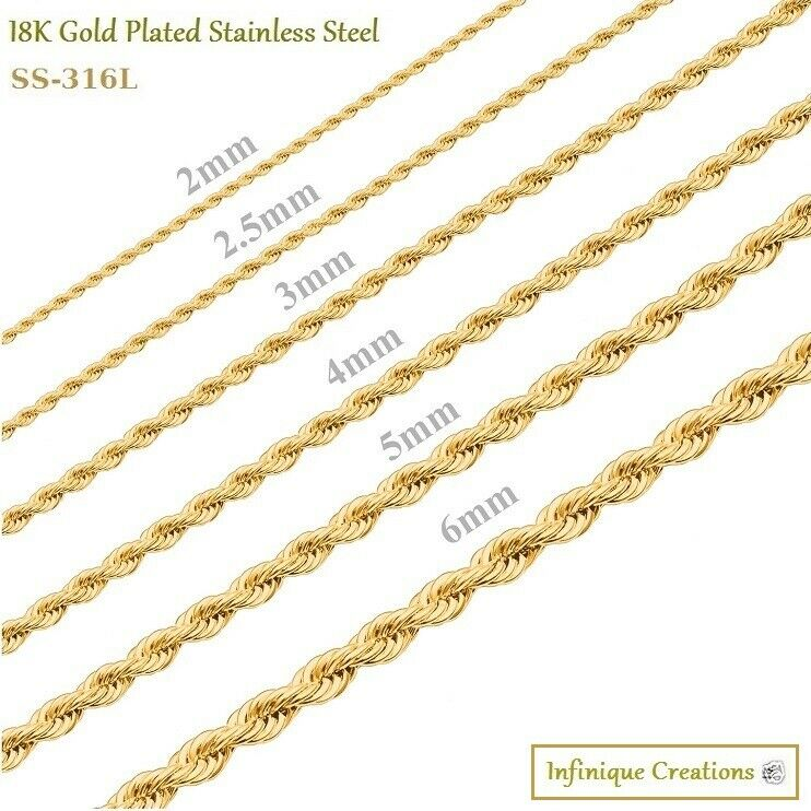 18K Gold Plated Stainless Steel Rope Chain Necklace Bracelet