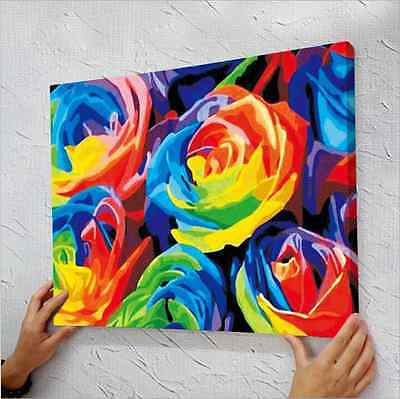 "16"" x 20"" DIY Paint By Number Kit Acrylic Painting On Canvas - Rainbow Rose"