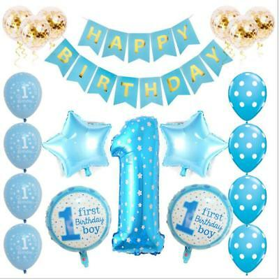 First Birthday Boy Decorations (1st Happy Birthday Confetti Balloons Boy Girl Baby Shower Party)