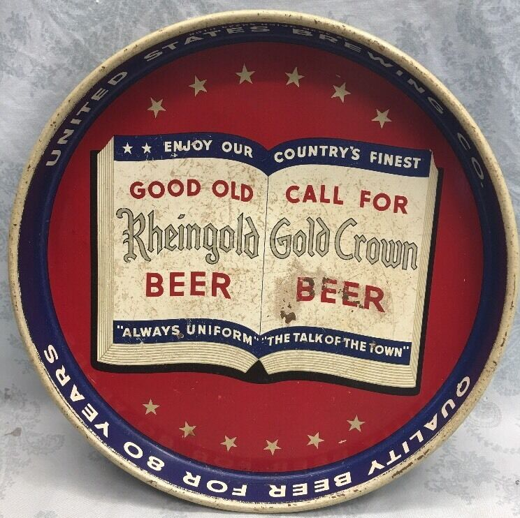 VINTAGE~1970s~ RHEINGOLD GOLD CROWN BEER TRAY, UNITED STATES BREWING CO.