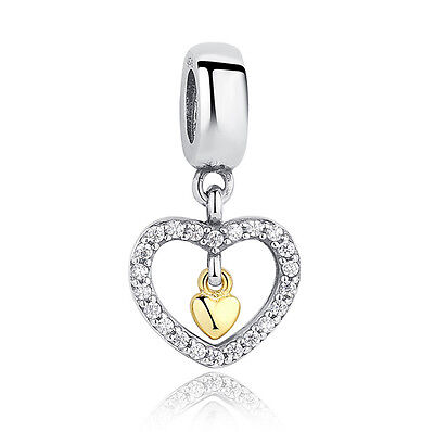 European Silver CZ Charm Beads Fit sterling 925 Necklace Bracelet Chain #603
