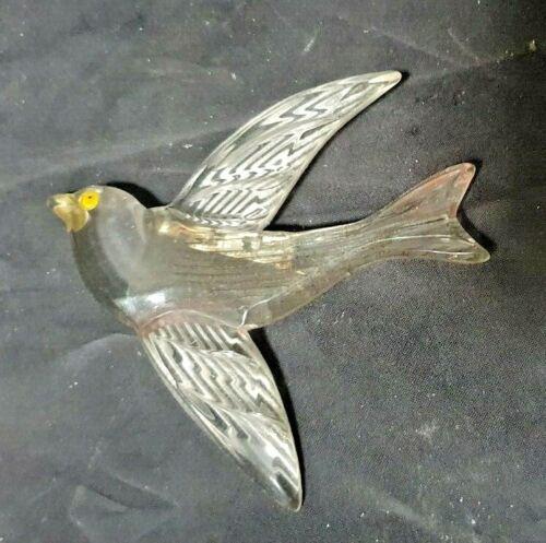 "VINTAGE CARVED LUCITE BIRD BROOCH - 3 1/4"" BY 3 1/4"""