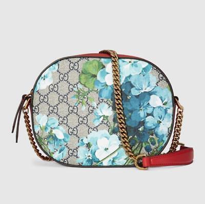 New Gucci Beige/Blue GG Coated Canvas Mini Bloom Chain Bag 546313 8492