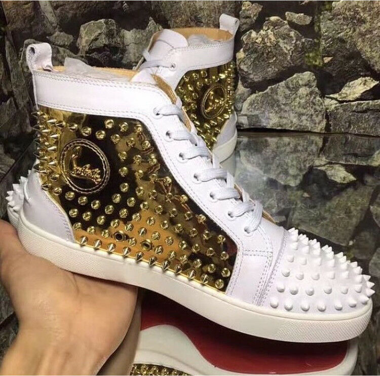 7fb1052c1e2 Christian Louboutin White Gold Spikes hi top