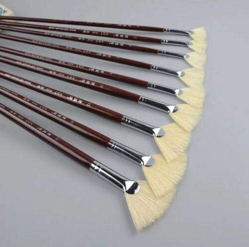 XDT#646 Fan Artist Paint Brush 9Pc Set Pure Hog Bristle Oil Acrylic Watercolor