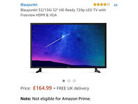 "Brand new in box 32"" LED freeview tv with glass stand"