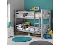 Wooden Pine Grey Heavy Duty Bunk Bed