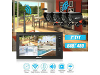"Wireless 2.4GHz 7"" TFT Digital LCD Display Monitor 4 Channel Quad DVR + 4 IR Night Vision Camera"