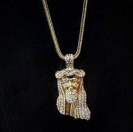 Jesus piece chain pendant gold necklace diamond diamonds gold plated