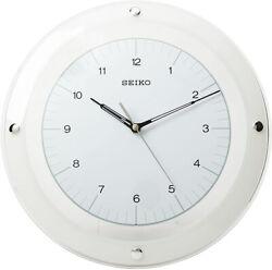 Seiko White & Glass 12 Quartz Quiet Sweep Wall Clock QXA314WLH