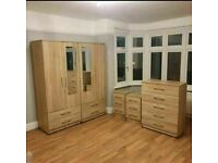 💕READYMADE BEDROOM SETS💕 INCLUDES WARDROBE, CHEST OF DRAWERS AND BEDSIDE IN VARIOUS COLOURS