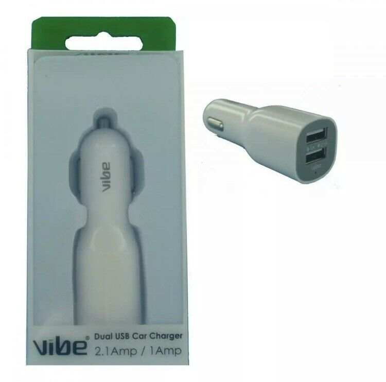Vibe+VI-18341+WHITE+Dual+Output+1+Amp+and+2.1+Amp+Output+Dual+USB+Car+Charger