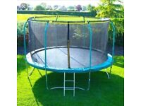 12 foot trampoline for sale in excellent condition hardly been used comes with safety net