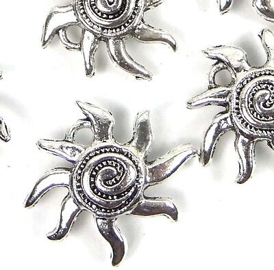 Pewter Fish Charm (15 Antique Silver Pewter Sea Star Fish starfish Spiral Charm Pendant 16mm   )