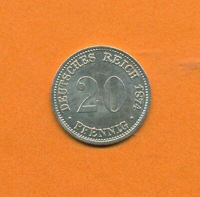 20 Pfennig Kaiserreich Jaeger 5, Silber, 1874 A, Stempelglanz fein