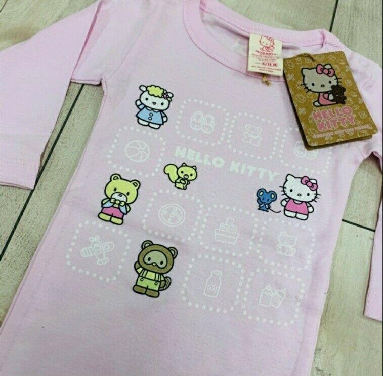 Sanrio Girls Infant Hello Kitty Pink One Piece Bodysuit Organic Cotton 0/3 M NEW