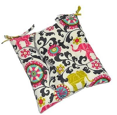 In Outdoor Foam Seat Cushion, Boho Pink Green Black Elephant