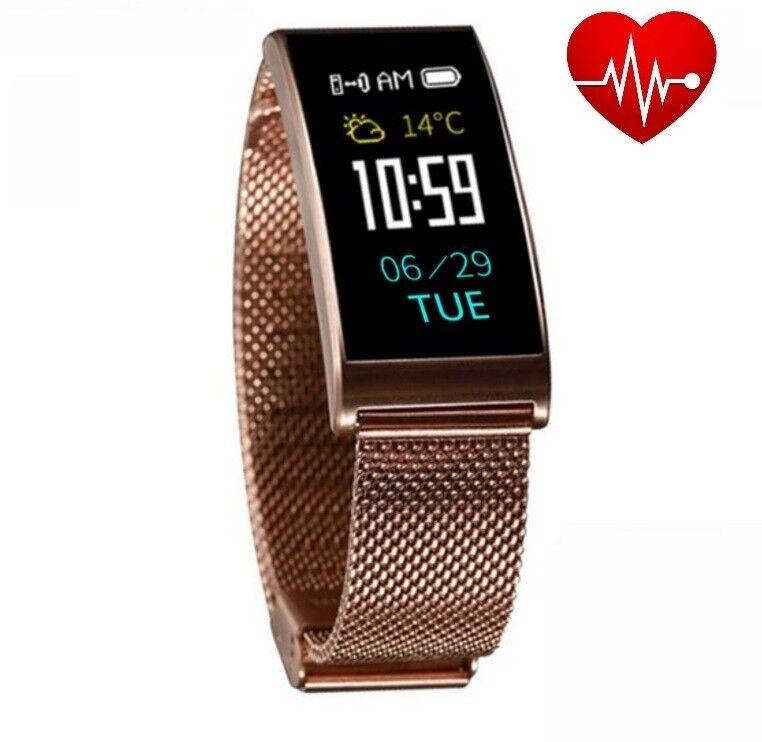 Smartband X3HR Rosé Smartwatch Farbdisplay Pulsuhr Blutdruck Fitness Armband
