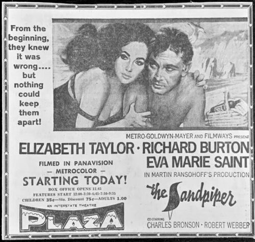 1965 Liz Taylor & Richard Burton movie ad. - Original