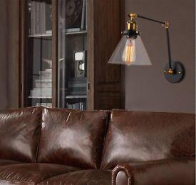 Retro Vintage Industrial Loft Glass Wall Light Lamp Pub Bar Copper Lamp Socket with Bulb 9013