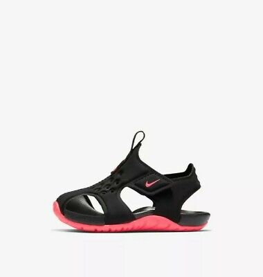 Nike Sunray Protect 2 PS Sport Sandals Shoes Girls Black/Racer Pink Size 8C NEW