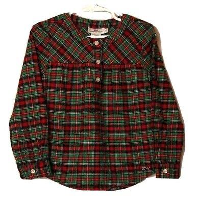 Vineyard Vines Girls Flannel Top Toddler 4T Red & Green Plaid -