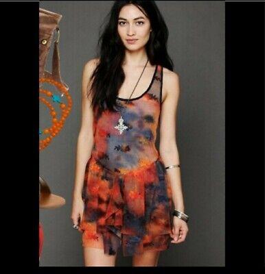 Intimately Free People Dress Sz L Fairy Grunge Slip Sheer Mesh Tunic