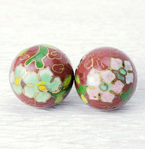 Vintage Large Brown Pink Green Flower Cloisonne Chinese Enamel 15mm 2 Beads