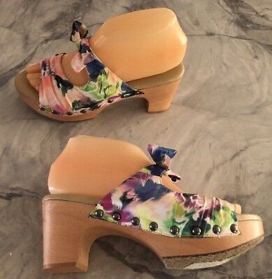 (SuzZato Floral Bow Slip-On Mule/Clog Soft Leather Lined Heels Shoes 37 US 6.5-7)