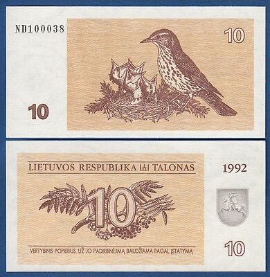 LITAUEN / LITHUANIA 10 Talonas 1992 aUNC  P. 40