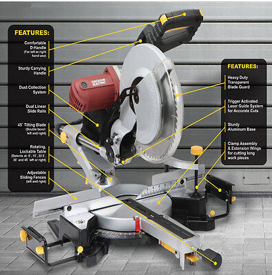 New 12'' Sliding Dual Compound Double Bevel Laser 15 amp Miter Saw Dewalt Rival