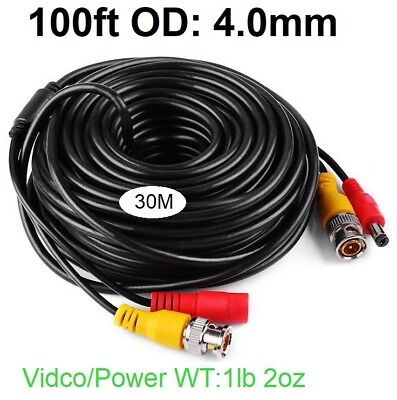 100ft (30m) Video and Power cable 4.0mm diameter thick, use for BNC Cameras