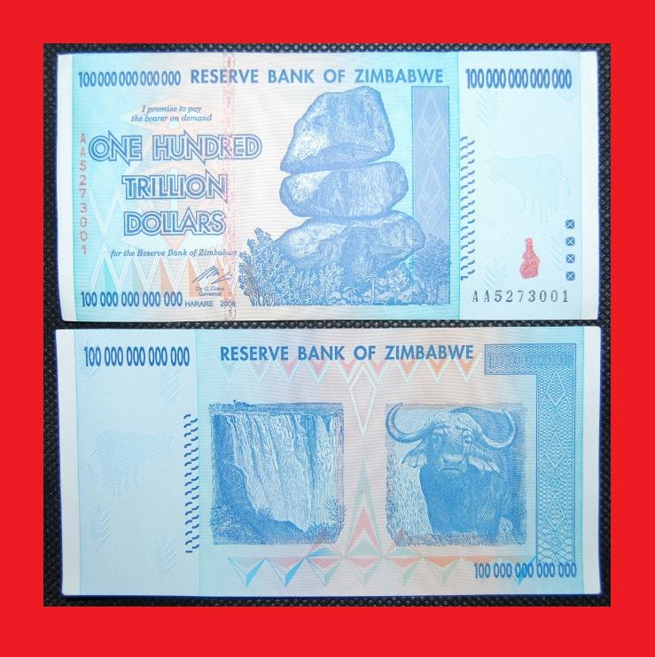 ZIMBABWE 100 TRILLION DOLLARS! FREE PRIORITY SHIPPING!