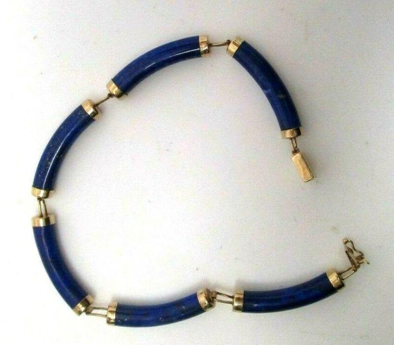 Vintage 14K Yellow Gold Lapis Link Bracelet